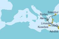 Visitando Atenas (Grecia), Ashdod (Israel), Haifa (Israel), Limassol (Chipre), Rodas (Grecia), Kusadasi (Efeso/Turquía), Estambul (Turquía), Atenas (Grecia)