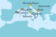 Visitando Barcelona, Montecarlo (Mónaco), Civitavecchia (Roma), Sorrento (Nápoles/Italia), Kotor (Montenegro), Dubrovnik (Croacia), Koper (Eslovenia), Venecia (Italia)