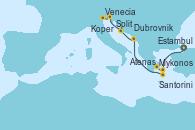 Visitando Estambul (Turquía), Mykonos (Grecia), Atenas (Grecia), Santorini (Grecia), Dubrovnik (Croacia), Split (Croacia), Koper (Eslovenia), Venecia (Italia)