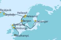 Visitando Southampton (Inglaterra), Edimburgo (Escocia), Invergordon (Escocia), Bergen (Noruega), Aalesund (Noruega), Hellesylt (Noruega), Geiranger (Noruega), Seydisfjordur (Islandia), Reykjavik (Islandia), Reykjavik (Islandia)