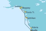 Visitando Seattle (Washington/EEUU), Fiordo Tracy Arm (Alaska), Skagway (Alaska), Juneau (Alaska), Ketchikan (Alaska), Victoria (Canadá), Seattle (Washington/EEUU)