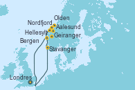 Visitando Londres (Reino Unido), Stavanger (Noruega), Aalesund (Noruega), Nordfjordeid, Olden (Noruega), Geiranger (Noruega), Geiranger (Noruega), Hellesylt (Noruega), Bergen (Noruega), Londres (Reino Unido)