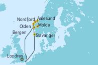 Visitando Londres (Reino Unido), Stavanger (Noruega), Nordfjordeid, Olden (Noruega), Aalesund (Noruega), Molde (Noruega), Bergen (Noruega), Londres (Reino Unido)