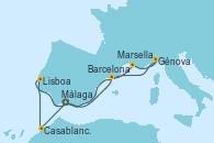 Visitando Málaga, Casablanca (Marruecos), Lisboa (Portugal), Barcelona, Marsella (Francia), Génova (Italia), Málaga
