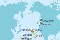 Visitando Vancouver (Canadá), Hilo (Hawai), Kailua Kona (Hawai/EEUU), Lahaina  (Hawai), Port Allen, Kauai, Hawaiian, Honolulu (Hawai), Honolulu (Hawai), Victoria (Canadá), Vancouver (Canadá)