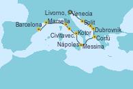 Visitando Venecia (Italia), Split (Croacia), Dubrovnik (Croacia), Kotor (Montenegro), Corfú (Grecia), Messina (Sicilia), Nápoles (Italia), Civitavecchia (Roma), Livorno, Pisa y Florencia (Italia), Marsella (Francia), Barcelona