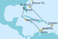 Visitando Tampa (Florida), Gran Caimán (Islas Caimán), Aruba (Antillas), Kralendijk (Antillas), Castries (Santa Lucía/Caribe), FALMOUTH, Nueva York (Estados Unidos)