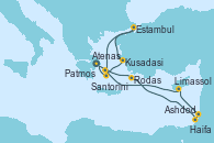 Visitando Atenas (Grecia), Rodas (Grecia), Ashdod (Israel), Haifa (Israel), Limassol (Chipre), Kusadasi (Efeso/Turquía), Estambul (Turquía), Santorini (Grecia), Atenas (Grecia)