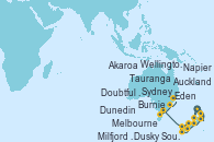 Visitando Auckland (Nueva Zelanda), Tauranga (Nueva Zelanda), Napier (Nueva Zelanda), Wellington (Nueva Zelanda), Akaroa (Nueva Zelanda), Dunedin (Nueva Zelanda), Milfjord Sound (Nueva Zelanda), Dusky Sound (Nueva Zelanda), Doubtful Sound (Nueva Zelanda), Melbourne (Australia), Burnie (Tasmania/Australia), Eden (Nueva Gales), Sydney (Australia)