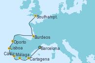 Visitando Barcelona, Cartagena (Murcia), Málaga, Cádiz (España), Lisboa (Portugal), Burdeos (Francia), Southampton (Inglaterra)