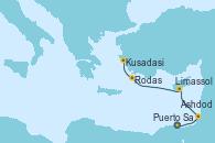 Visitando Atenas (Grecia), Puerto Said (Egipto), Ashdod (Israel), Limassol (Chipre), Rodas (Grecia), Kusadasi (Efeso/Turquía), Atenas (Grecia)