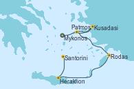 Visitando Atenas (Grecia)Mykonos (Grecia), Kusadasi (Efeso/Turquía), Patmos (Grecia), Rodas (Grecia), Heraklion (Creta), Santorini (Grecia), Atenas (Grecia)