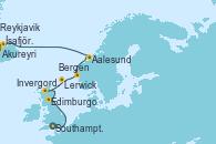 Visitando Southampton (Inglaterra), Edimburgo (Escocia), Invergordon (Escocia), Lerwick (Escocia), Bergen (Noruega), Aalesund (Noruega), Akureyri (Islandia), Reykjavik (Islandia)