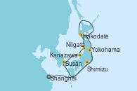 Visitando Shanghái (China), Yokohama (Japón), Kanazawa (Japón), Busán (Corea del Sur), Shimizu (Japón), Yokohama (Japón)