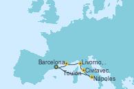 Visitando Barcelona, Nápoles (Italia), Civitavecchia (Roma), Livorno, Pisa y Florencia (Italia), Toulon (Francia), Barcelona