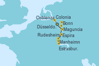 Visitando Düsseldorf (Alemania), Coblenza (Alemania), Manheimn (Alemania), Estrasburgo (Francia), Espira (Alemania), Maguncia (Alemania), Maguncia (Alemania), Rudesheim (Alemania), Bonn (Alemania), Bonn (Alemania), Colonia (Alemania), Düsseldorf (Alemania)