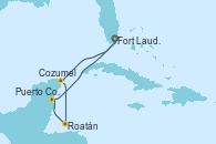 Visitando Fort Lauderdale (Florida/EEUU), Cozumel (México), Roatán (Honduras), Puerto Costa Maya (México), Fort Lauderdale (Florida/EEUU)