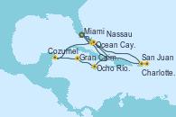 Visitando Miami (Florida/EEUU), Ocho Ríos (Jamaica), Gran Caimán (Islas Caimán), Cozumel (México), Ocean Cay MSC Marine Reserve (Bahamas), Miami (Florida/EEUU), San Juan (Puerto Rico), San Juan (Puerto Rico), Charlotte Amalie (St. Thomas), Nassau (Bahamas), Ocean Cay MSC Marine Reserve (Bahamas), Miami (Florida/EEUU)